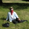 My friend Dan at my birthday on Hampstead Heath - he thought he had swine flu. July 14 2009.